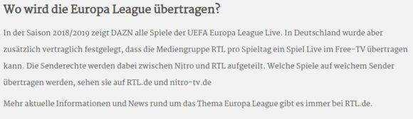 Europa League auf RTL
