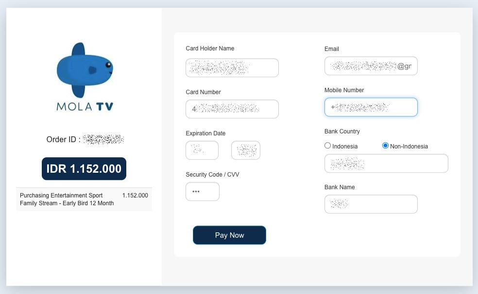 Du kannst Mola.tv mit Kreditkarte bezahlen