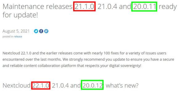 Nextcloud – irgendwelche Updates