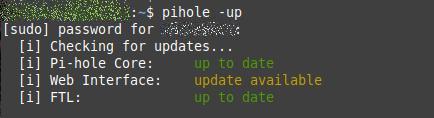 Pi-hole – Update für die Webkomponente