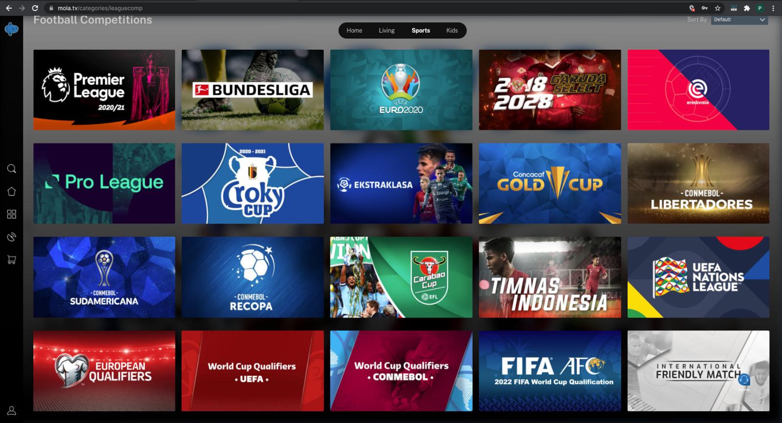 Mola.tv bietet viele Sport-Optionen an