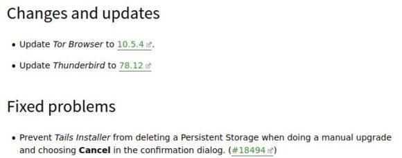 Das Changelog von Tails 4.21 ist ziemlich übersichtlich