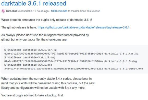 darktable 3.6.1 ist veröffentlicht