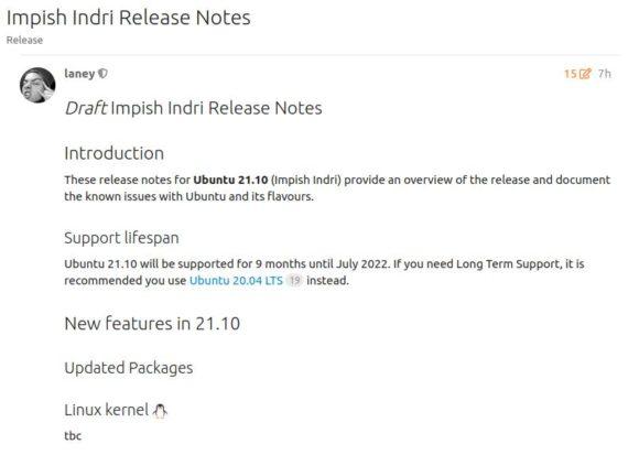 Die Release Notes für Ubuntu 21.10 Impish Indri sind derzeit noch unvollständig