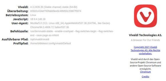 Vivaldi 4.3 unter Linux installiert